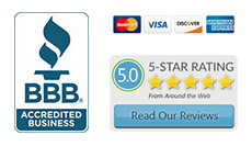 BBB logo, credit card logos and 5-star rating logo